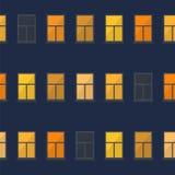 Απλό άνευ ραφής σχέδιο παραθύρων νύχτας Στοκ φωτογραφία με δικαίωμα ελεύθερης χρήσης