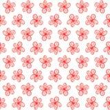 Απλό άνευ ραφής watercolor σχεδίων του κόκκινου λουλουδιού, απεικόνιση λουλουδιών διανυσματική απεικόνιση