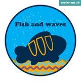 απλό έμβλημα με τα ψάρια κλόουν Στοκ Εικόνα