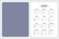 Απλό αγγλικό διανυσματικό ημερολόγιο τσεπών έτος του 2019 απεικόνιση αποθεμάτων