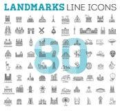 Απλό γραμμικό διανυσματικό σύνολο εικονιδίων που αντιπροσωπεύει τα σφαιρικά ορόσημα τουριστών και τους προορισμούς ταξιδιού για τ απεικόνιση αποθεμάτων
