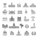 Απλό γραμμικό διανυσματικό σύνολο εικονιδίων που αντιπροσωπεύει τα σφαιρικά ορόσημα τουριστών και τους προορισμούς ταξιδιού για τ Στοκ εικόνα με δικαίωμα ελεύθερης χρήσης