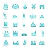 Απλό γραμμικό διανυσματικό σύνολο εικονιδίων που αντιπροσωπεύει τα σφαιρικά ορόσημα τουριστών και τους προορισμούς ταξιδιού για τ Στοκ Εικόνες