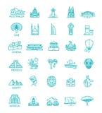 Απλό γραμμικό διανυσματικό σύνολο εικονιδίων που αντιπροσωπεύει τα σφαιρικά ορόσημα τουριστών και τους προορισμούς ταξιδιού για τ Ελεύθερη απεικόνιση δικαιώματος