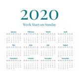 Απλό ημερολόγιο έτους του 2020 Απεικόνιση αποθεμάτων
