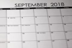 Απλό ημερολόγιο το Σεπτέμβριο του 2019 Ενάρξεις εβδομάδας από την Κυριακή στοκ φωτογραφία με δικαίωμα ελεύθερης χρήσης