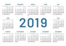 Απλό ημερολόγιο τσεπών, κέντρο του 2019, έτος, επίπεδος, που απομονώνεται απεικόνιση αποθεμάτων