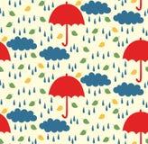 Απλό παιδαριώδες άνευ ραφής διανυσματικό σχέδιο βροχής ομπρελών Στοκ Εικόνα