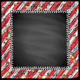 Απλό πλαίσιο με τα φω'τα γιρλαντών σε ένα υπόβαθρο πινάκων κιμωλίας απεικόνιση αποθεμάτων