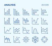 Απλό σύνολο ανάλυσης διαγράμματα Διανυσματικά εικονίδια γραμμών στοκ εικόνα