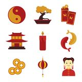 Απλό χαριτωμένο κινεζικό συνήθειας γραφικό σύνολο απεικόνισης πολιτισμού διανυσματικό απεικόνιση αποθεμάτων