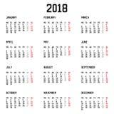 Απλό ύφος ημερολογιακού 2018 έτους στο άσπρο υπόβαθρο επίσης corel σύρετε το διάνυσμα απεικόνισης Στοκ φωτογραφίες με δικαίωμα ελεύθερης χρήσης