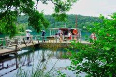 Αποβάθρα βαρκών λιμνών Plitvice, Κροατία στοκ εικόνες με δικαίωμα ελεύθερης χρήσης