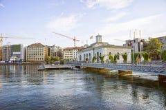 Αποβάθρα λιμνών της Γενεύης στο καλοκαίρι Στοκ Εικόνες