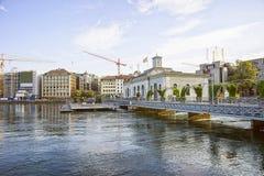 Αποβάθρα λιμνών της Γενεύης στο καλοκαίρι Στοκ φωτογραφίες με δικαίωμα ελεύθερης χρήσης