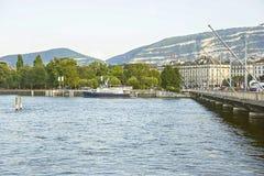 Αποβάθρα λιμνών της Γενεύης το καλοκαίρι Στοκ εικόνες με δικαίωμα ελεύθερης χρήσης