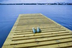 Αποβάθρα και πλέοντας σκάφη σε μια ομαλή επιφάνεια νερού της λίμνης Στοκ εικόνα με δικαίωμα ελεύθερης χρήσης