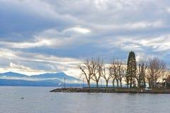 Αποβάθρα της Λωζάνης της λίμνης της Γενεύης με τα δέντρα στην Ελβετία Στοκ Εικόνα