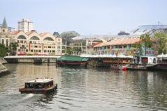Πόλη Σινγκαπούρης όχθεων ποταμού αποβαθρών Clarke Στοκ Εικόνες