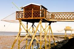Αποβάθρες με τα δίχτια του ψαρέματος Στοκ φωτογραφία με δικαίωμα ελεύθερης χρήσης
