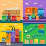 Αποβλήτων ταξινομώντας απορριμάτων ανακύκλωσης διανυσματική απεικόνιση ύφους περιβάλλοντος επίπεδη ελεύθερη απεικόνιση δικαιώματος