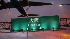 Απογείωση Οζάκα αεροπλάνων κατά τη διάρκεια μιας θαυμάσιας ανατολής διανυσματική απεικόνιση