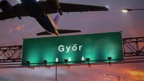 Απογείωση Gyor αεροπλάνων κατά τη διάρκεια μιας θαυμάσιας ανατολής ουγγρικά διανυσματική απεικόνιση