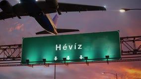 Απογείωση Heviz αεροπλάνων κατά τη διάρκεια μιας θαυμάσιας ανατολής ουγγρικά διανυσματική απεικόνιση