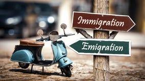 Αποδημία σημαδιών οδών εναντίον της μετανάστευσης στοκ εικόνες