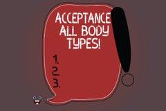 Αποδοχή κειμένων γραψίματος λέξης όλοι οι τύποι σώματος E διανυσματική απεικόνιση