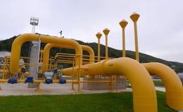 Αποθήκευση αερίου και σωλήνωση σε Ihtiman, Οκτώβριος της Βουλγαρίας ot 13, 2015 Στοκ Φωτογραφία