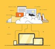 Αποθήκευση σύννεφων στοιχείων συσκευών υπολογιστών Επίπεδη διανυσματική απεικόνιση σχεδίου Στοκ εικόνες με δικαίωμα ελεύθερης χρήσης