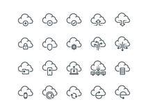 Αποθήκευση σύννεφων Σύνολο διανυσματικών εικονιδίων περιλήψεων Περιλαμβάνει όπως ο συγχρονισμός στοιχείων Στοκ Φωτογραφία