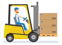 αποθήκευση Forklift οδηγός που συσσωρεύει τις παλέτες με τα κιβώτια από το φορτωτή στοιβαχτών Στοκ φωτογραφία με δικαίωμα ελεύθερης χρήσης
