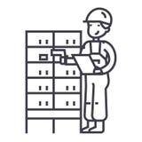 Αποθήκη εμπορευμάτων, άτομο παράδοσης που ελέγχει το γραμμωτό κώδικα στο μετα εικονίδιο γραμμών κιβωτίων διανυσματικό, σημάδι, απ ελεύθερη απεικόνιση δικαιώματος