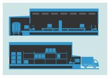 Αποθήκη εμπορευμάτων Η διαδικασία εκφόρτωσης και φόρτωσης Στοκ φωτογραφία με δικαίωμα ελεύθερης χρήσης
