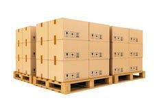 Αποθήκη εμπορευμάτων: κουτιά από χαρτόνι στις παλέτες Στοκ Εικόνα