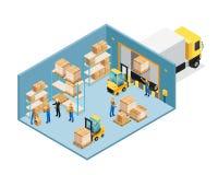 Αποθήκη εμπορευμάτων μέσα στη Isometric σύνθεση ελεύθερη απεικόνιση δικαιώματος