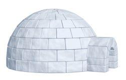 Αποθήκη πάγου παγοκαλυβών στην άσπρη πλάγια όψη