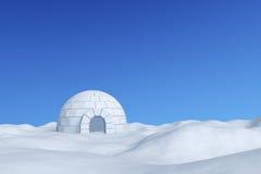 Αποθήκη πάγου παγοκαλυβών κάτω από το χειμερινό μπλε ουρανό Στοκ φωτογραφία με δικαίωμα ελεύθερης χρήσης
