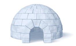 Αποθήκη πάγου παγοκαλυβών στην άσπρη μπροστινή άποψη Στοκ Φωτογραφία