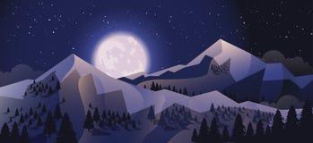 Αποθεμάτων διανυσματικό τοπίο βουνών υποβάθρου απεικόνισης οριζόντιο στο επίπεδο ύφος Στοκ Εικόνες