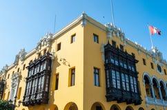 Αποικιακό κίτρινο κτήριο, Λίμα, Περού Στοκ εικόνες με δικαίωμα ελεύθερης χρήσης