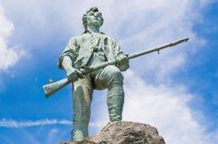 Αποικιακό minuteman άγαλμα στη Μασαχουσέτη Στοκ Εικόνες