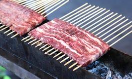 Αποκαλούμενο κρέας Arrosticini στα ιταλικά γλώσσα Στοκ Φωτογραφία