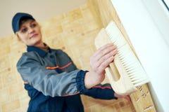 Αποκατάσταση ή ανακαίνιση διακόσμηση εργασίας ταπετσαριών Στοκ φωτογραφία με δικαίωμα ελεύθερης χρήσης