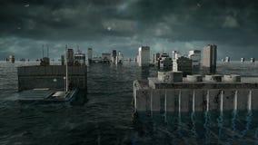 Αποκαλυπτική άποψη νερού αστική πλημμύρα Θύελλα τρισδιάστατη ζωτικότητα ελεύθερη απεικόνιση δικαιώματος
