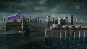 Αποκαλυπτική άποψη νερού αστική πλημμύρα, ρωσικά απεικόνιση αποθεμάτων