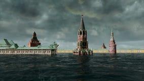 Αποκαλυπτική άποψη νερού αστική πλημμύρα, ρωσικό κόκκινο τετράγωνο Θύελλα τρισδιάστατος δώστε ελεύθερη απεικόνιση δικαιώματος