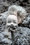 Αποκεφαμένη κούκλα κοριτσιών με το τρομακτικό λειωμένο πρόσωπο Στοκ Φωτογραφία